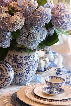 Blue Hydrangea Tablescape - StoneGable