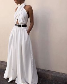 Casual Sexy Sling Off The Shoulder Backless Pure Color Jumpsuit Dress – Helloo. Casual Sexy Sling Off The Shoulder Backless Pure Color Jumpsuit Dress – Helloof Pretty Wedding Dresses, Elegant Dresses, Casual Dresses, Dresses For Work, Formal Dresses, Dresses Dresses, Pretty Dresses, Backless Maxi Dresses, Wrap Dresses