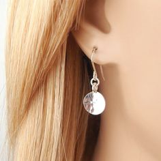 Sterling Silver Hammered Disc Earrings Simple by BeautifulAsYou