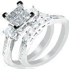 Diamond Bridal set Wedding rings 1ctw Princess cut top White gold 10K 2pc Real. Features Gorgeous 1ct Real Diamond Princess cut Bridal Wedding set