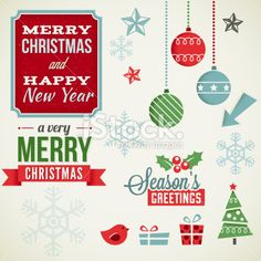 Vintage Christmas Elements Royalty Free Stock Vector Art Illustration