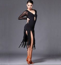Professional Competition Women's Latin Dance Tassels Dress Rumba Samba Ballroom