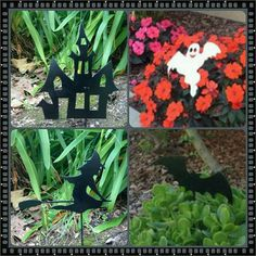 This set 4 Halloween yard stakes are the perfect finish to your Halloween decorating! These are a great item to place in your yard or in a