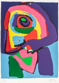 Karel Appel, (1921-2006) Rond 1963 veranderd het karakter van zijn werk: hij gebruikte daarvoor veel warmere kleuren en dikke lagen over elkaar. Daarna was het ook lagen over elkaar maar dat waren hele dunne lagen en gelijkmatig in vlakken opgebracht, hij gebruikte toen bijna fluoriderende kleuren. Hij begon ook behalve schilderijen ook beelden te maken en reliëfs van hout, polyester en aluminium die mensen of dieren voorstellen.