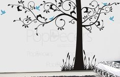 "Super Big Tree Wall Decals Tree Wall Mural - Super Elegant Tree - 102""H 166""W- Large Wall Mural Vinyl Tree Arts Office Wall Decal Stickers"
