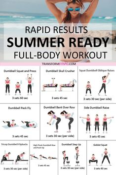 ☀️ Get Your Summer Bod Fast! Rapid Results You Won't Believe! How to get a Summer body? This full body workout gave me a Summer body in rapid time. It is an inspirational and motivational workout which you' Summer Body Goals, Summer Body Workouts, Summer Body Motivation, Summer Workout Plan, Sunday Workout, Summer Fitness, Health Motivation, Workout Motivation, Fitness Tips