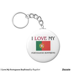 I Love My Portuguese Boyfriend Basic Round Button Keychain