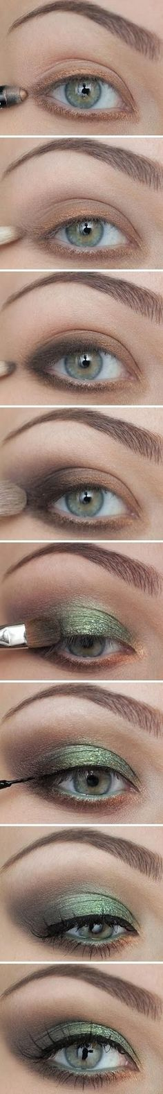 Creating beautiful eyes with brown and green