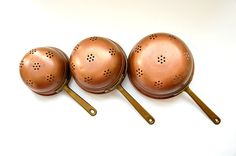 Vintage French, copper colanders, set of 3, graduated colanders, French copper strainers, copper sieves, trio colanders, long handles by LaCroixRosion on Etsy Gray Subway Tile Backsplash, Grey Subway Tiles, Copper Pots, Brass Handles, French Vintage, I Shop, Small Businesses, Etsy Shop, Group