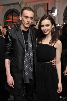 Jamie Campbell Bower & Lilly Collins – British Fashion Awards 2012