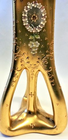 Detail - The shape of this vase is very similar to a tripod vase designed by Loetz designer Marie Kirchner. Could be a Loetz blank decorated by Moser or one of the other find Bohemian Glass decorators. Bohemia Glass, Tripod, Bohemian, Vase, Detail, Tableware, Dinnerware, Tablewares, Vases