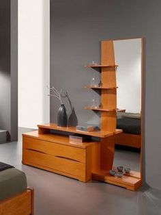 Dresser With Mirror And Shelves Layered dresser design, with a tall mirror sided with shelves and