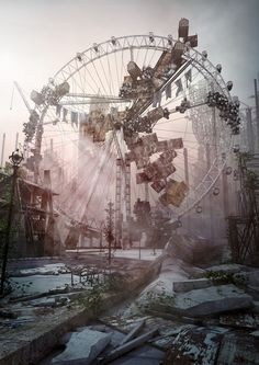 There's something very creepy about abandoned amusement parks. Abandoned Mansions, Abandoned Buildings, Abandoned Places, Abandoned Castles, Abandoned Theme Parks, Abandoned Amusement Parks, 3d Studio, Film Studio, Art Graphique