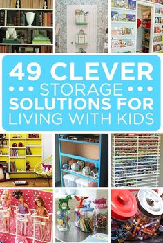 49 Clever Storage Solutions For Living With Kids Vraiment des bonnes idées! Toy Storage Solutions, Diy Toy Storage, Kids Storage, Storage Ideas, Ball Storage, Ideas Para Organizar, Ideias Diy, Toy Rooms, Tips & Tricks