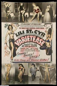 Movie poster for Irving Klaw's 1954 film 'VARIETEASE''; starring: Lili St. Cyr