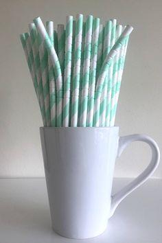 Mint Green Bendable Striped Paper Straws Mint Party Supplies Party Decor Bar Cart Cake Pop Sticks Mason Jar Straws Party Graduation