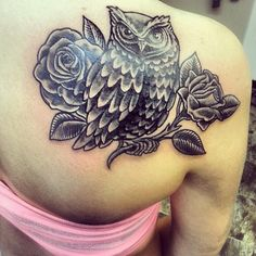 Beautiful Rose and Owl Tattoo Design on Back for Women | Cool Tattoo Designs