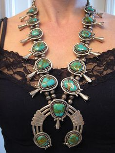 Vintage Navajo Turquoise Squash Blossom Necklace#Repin By:Pinterest++ for iPad#