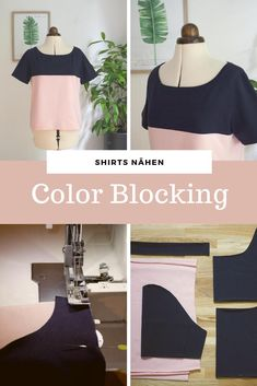 Color Blocking Shirt – Nähanleitung für alle Schnittmuster Sew a pretty with color block effect from any T-shirt pattern. With the simple pattern adjustment, it is suitable for every cut. In the sewing example I show it on mine with # free Diy Clothes Jackets, Diy Clothes Tops, Sewing Clothes, Diy Fashion, Fashion Outfits, Diy Kleidung, Vestidos Vintage, Diy Shirt, Refashion