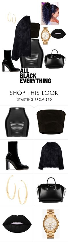 """Untitled #185"" by ivorylovee on Polyvore featuring Oscar Tiye, WithChic, Lana, Givenchy, Lime Crime, Michael Kors and allblackoutfit"