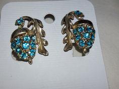 Vintage Earrings Sterling Silver Blue Rhinestones Acorn Drop by MYBRICKHOUSE on Etsy