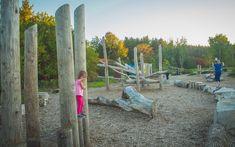 Bog stilts at Huron Natural Area - Kitchener, Ontario  #naturalplay #climbing #ontarioplaygrounds #playground #natural #play #posts #activeplay #playspace #inclusiveplay