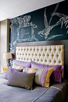 Chalkboard wall - love this idea! Maybe not bedroom - but definitely love it.