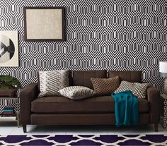 Zigzag and geometric patterned room - Discover home design ideas, furniture, browse photos and plan projects at HG Design Ideas - connecting homeowners with the latest trends in home design & remodeling Crazy Wallpaper, Geometric Wallpaper, Geometric Prints, Graphic Wallpaper, Geometric Patterns, Living Room Decor, Living Spaces, Living Rooms, Wallpaper Collection