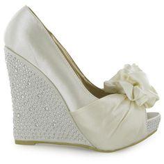Ladies Ivory Satin Diamante Peeptoe Wedge Heels Womens Bridal Shoes Size 3 8 UK | eBay