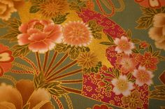 11GR Colorful Fans Japanese Fabric  Green/Gold by AtelierLiaSan, €4.50