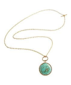 Look at this #zulilyfind! Turquoise & Bronze Reversible Pendant Necklace by Barse #zulilyfinds