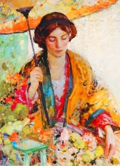 ☂ Paper Lanterns and Parasols ☂ Japonisme Art and Illustration - Richard E. Miller | Woman with Parasol