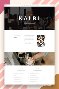KALBI is a clean and elegant WordPress theme for cafes, bars, bistros, bakery, pubs, cafeteria, coffee shops, pizzerias or other restaurant related business. Setting up and working with KALBI is easy with the Page Builder & Theme Options. #wordpresstheme #restaurant #wordpresswebsite