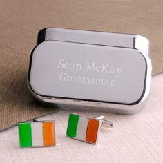 Sinn fein 1916 easter rising irish flag anniversary t shirt personalized dashing irish flag cufflinks with personalized engraved case negle Images