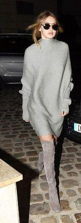 С чем носить ботфорты — EDGE  С объёмным вязанным платьем  Ещё