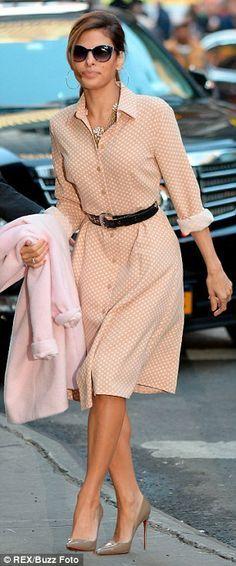 Eva Mendes elevates her elegant look in polka dots