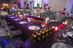 head table purple sequin tablecloth linen infinity candle boxes flowers ombre long, Flowers by The Crimson Petal, #thecrimsonpetal, thecrimsonpetal.net