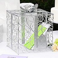 Silver scroll reception card holder with metall ribbon, bow and gift tag accents