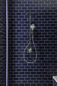 blue subway tile in this bathroom shower stall Blue Subway Tile, Glass Subway Tile, Blue Tiles, Blue Bathroom Tiles, Washroom Tiles, Bad Inspiration, Bathroom Inspiration, Custom Glass, Beautiful Bathrooms