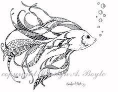 ORIGINAL INK DRAWING art Zentangle doodle fish by OriginalSandMore