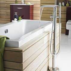 This floor standing waterfall faucet will make a statement in any modern bathroom