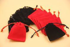 100x Velvet Jewellery Gift Bag Pouch 7x8.5cm Black/Red Elegant Wedding Party SYD