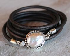 What your Mom REALLY wants for Mothers Day. Pearl and Leather multi wrap bracelet