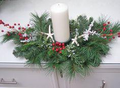 BEACH DECOR CENTERPIECE Christmas, pillar candle holder, starfish, red berries, mixed pine, nautical candle centerpiece