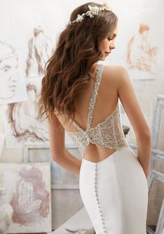 2017 Designer Wedding Dresses and Bridal Gowns by Morilee. This Larissa Satin Fit & Flare Wedding Dress Features Stunning Crystallized Back Detail.