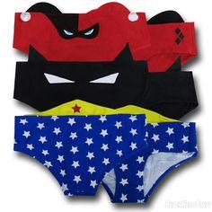 DC Comics Ear Panties 3-Pack Wonder Woman Harley Quinn Batman