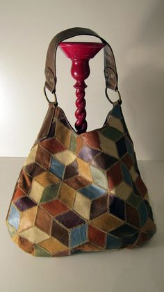 Vintage handbag patchwork retro earth toned par ThePantages