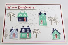 Weihnachtskarte mit dem Set From our house to yours Christmas Cards, Merry Christmas, Advent Calendar, Stampin Up, Hearts, Holiday Decor, Winter, House, Home Decor