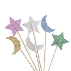 Colorful Stars And Moon Cupcake Topper Toothpicks