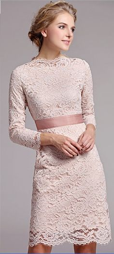 Elegant 3/4 Sleeves Lace Dress--the top of this would be great on a wedding dress, just needs to be longer